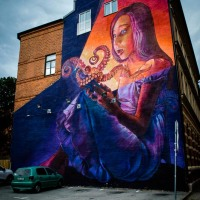 Mural by Natalia Rak in old town Malmö